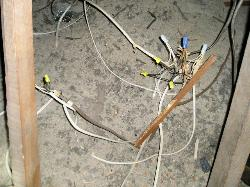 Improper electrical wiring in an attic